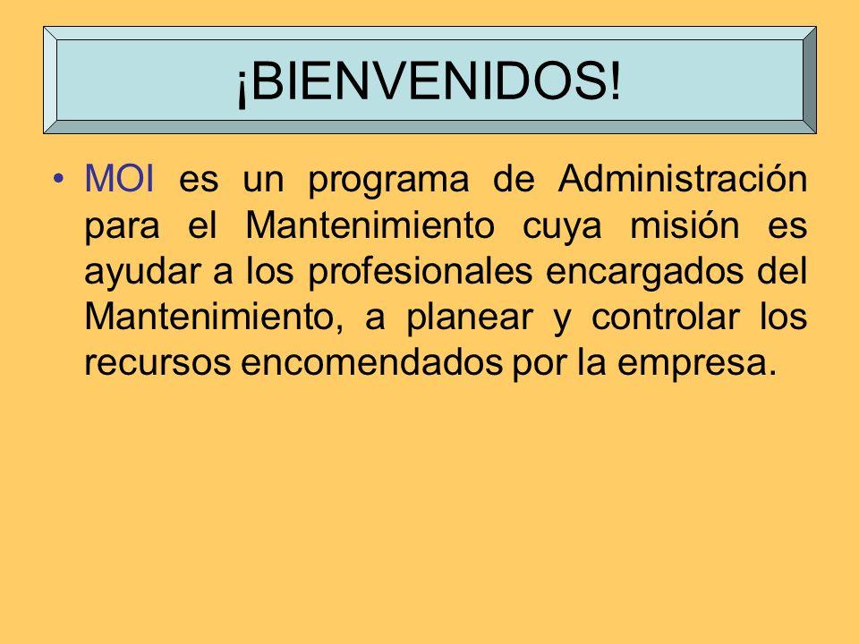 MOI es un programa de Administración para el Mantenimiento cuya misión es ayudar a los profesionales encargados del Mantenimiento, a planear y control