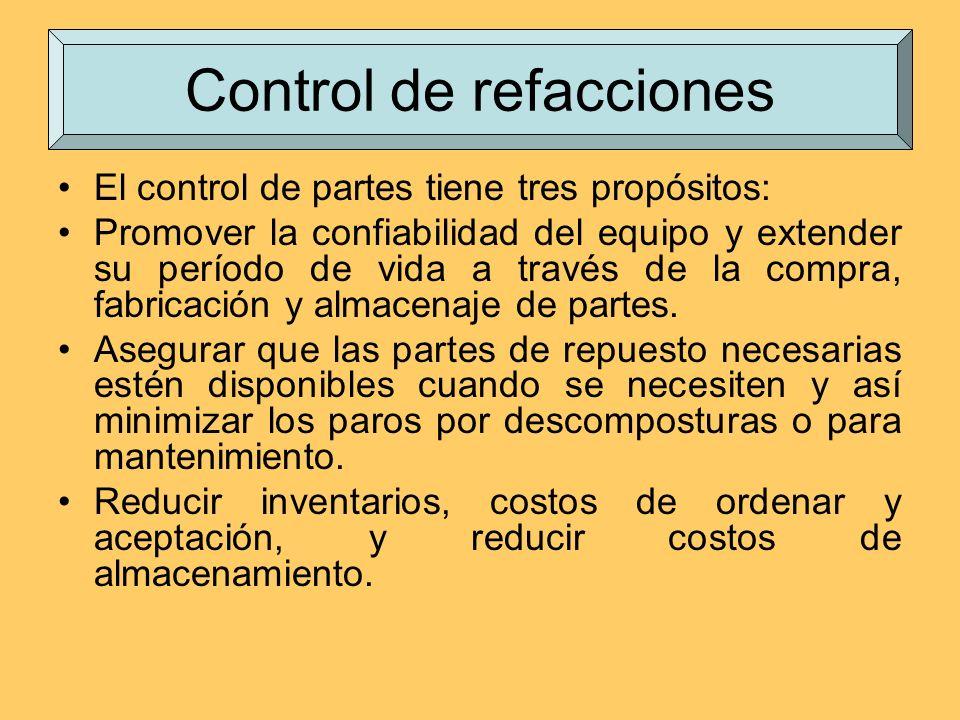 El control de partes tiene tres propósitos: Promover la confiabilidad del equipo y extender su período de vida a través de la compra, fabricación y al