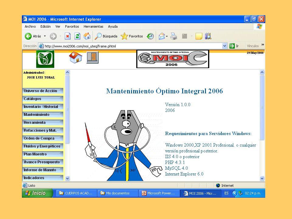 Descripción El programa MOI2006 es un apoyo informático para la Administración del Mantenimiento.