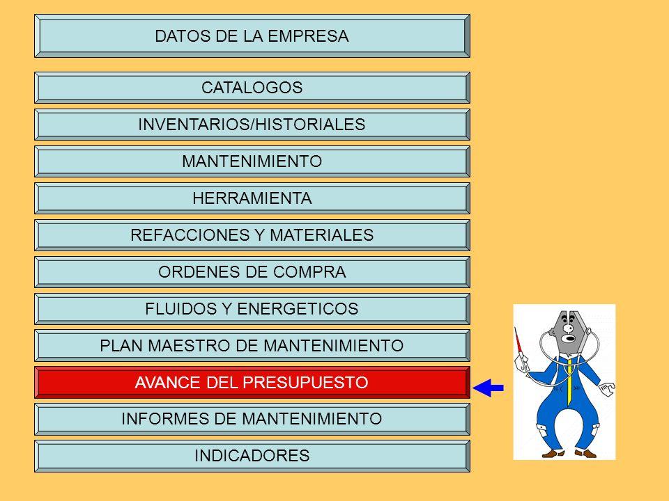 DATOS DE LA EMPRESA CATALOGOS INVENTARIOS/HISTORIALES MANTENIMIENTO HERRAMIENTA REFACCIONES Y MATERIALES ORDENES DE COMPRA FLUIDOS Y ENERGETICOS PLAN