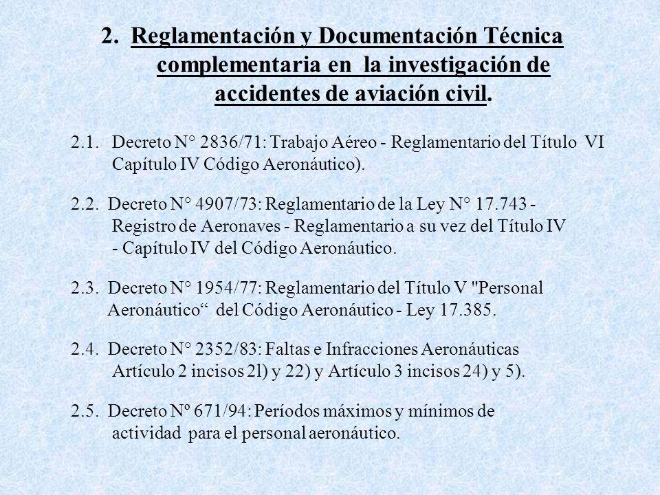 1.- Legislación Aplicable 1.1. CODIGO AERONAUTICO ARGENTINO - Ley 17.285. Título IX - Artículos 185 a 190. 1.2. DECRETO N° 934/70 Reglamentario del Tí