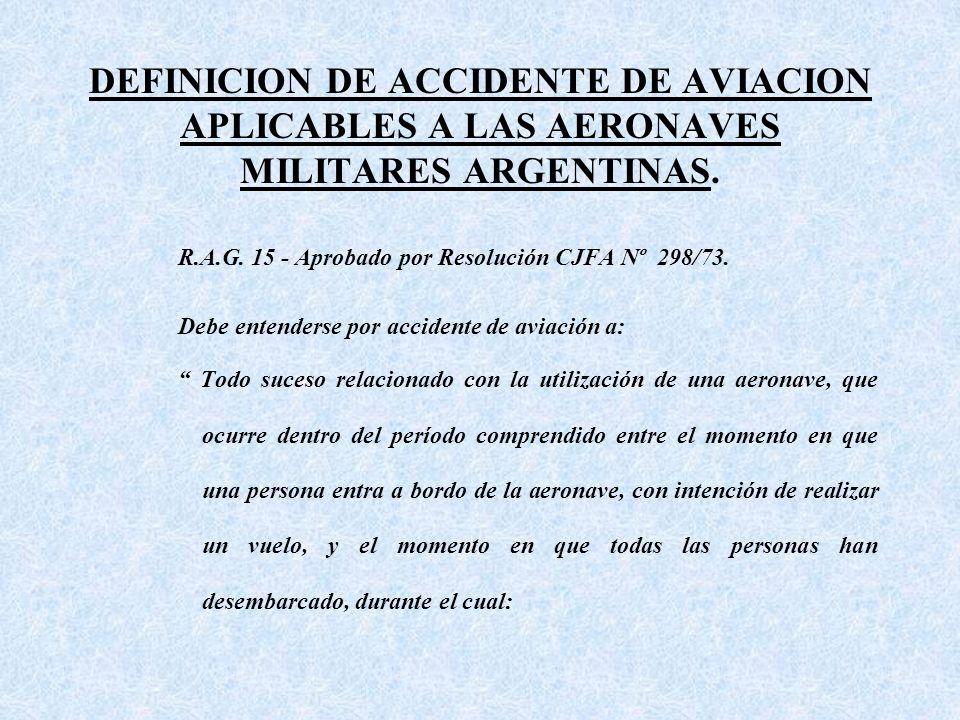 DEFINICION DE ACCIDENTE DE AVIACION APLICABLES A LAS AERONAVES MILITARES ARGENTINAS.
