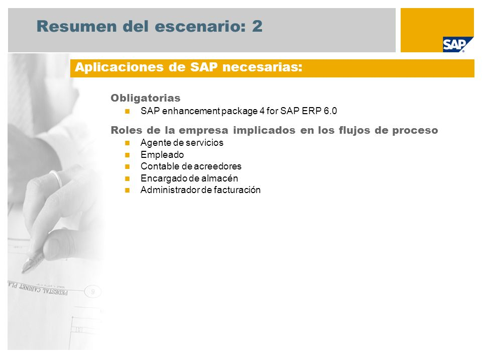 Resumen del escenario: 2 Obligatorias SAP enhancement package 4 for SAP ERP 6.0 Roles de la empresa implicados en los flujos de proceso Agente de serv