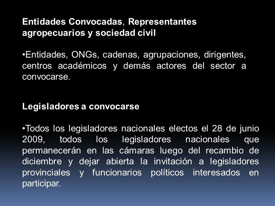 Entidades Convocadas, Representantes agropecuarios y sociedad civil Entidades, ONGs, cadenas, agrupaciones, dirigentes, centros académicos y demás actores del sector a convocarse.