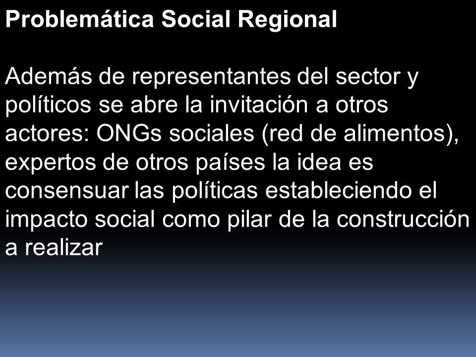 Problemática Social Regional Además de representantes del sector y políticos se abre la invitación a otros actores: ONGs sociales (red de alimentos), expertos de otros países la idea es consensuar las políticas estableciendo el impacto social como pilar de la construcción a realizar