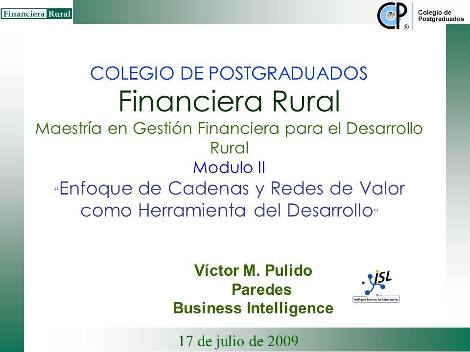 COLEGIO DE POSTGRADUADOS Financiera Rural Maestría en Gestión Financiera para el Desarrollo Rural Modulo II Enfoque de Cadenas y Redes de Valor como Herramienta del Desarrollo Víctor M.