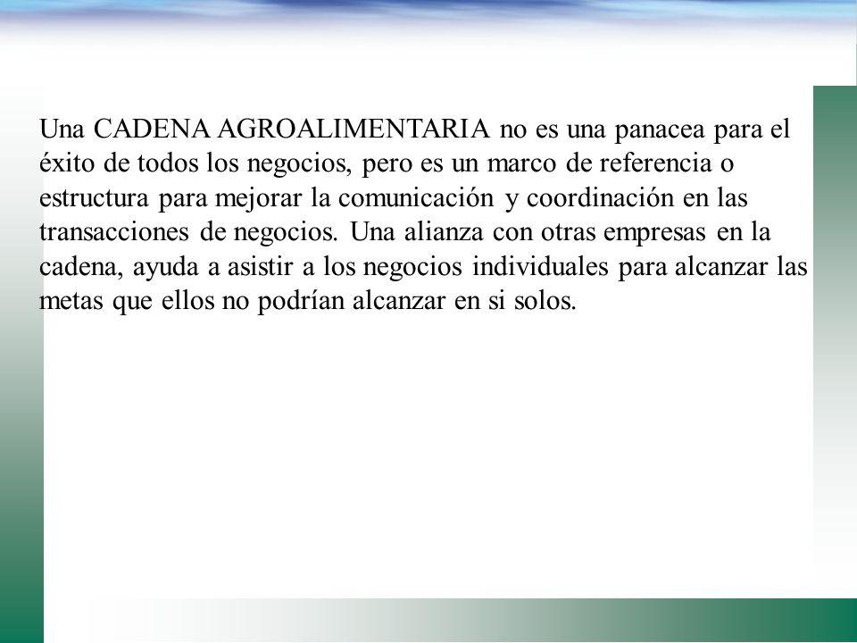 OTRAS CARACTERÍSTICAS DE LA CADENA DE VALOR: Ofrece la seguridad de negociar con otros miembros de la cadena. Juntos desarrollan objetivos y metas com