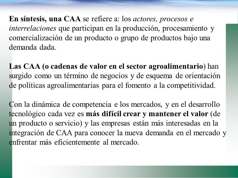DEFINICIÓN DE CADENA AGROALIMENTARIA: CAA es la interpretación francesa (filliere) de subsistema agroalimentario, el cual comprende el itinerario segu
