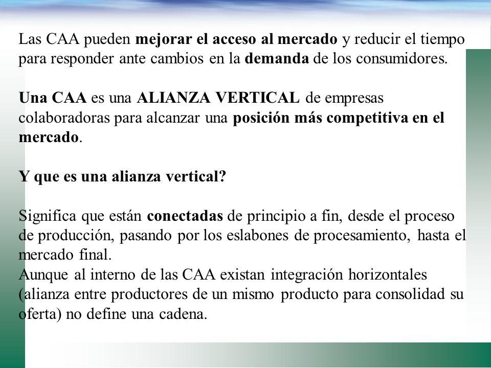 La característica principal de una CAA es: su enfoque al mercado, en donde diferentes empresas (negocios) colaboran juntas para producir y comercializ