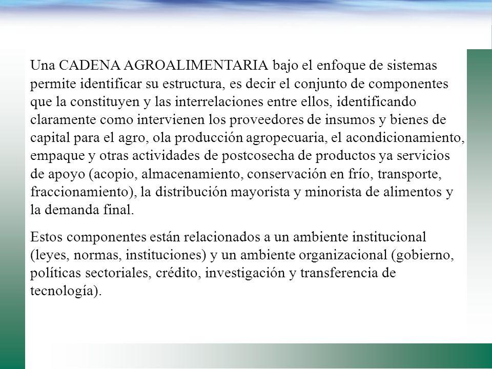 Una CADENA AGROALIMENTARIA es también un sistema económico el cual distribuye beneficios y riesgo entre los participantes. Por ello se fortalecen los