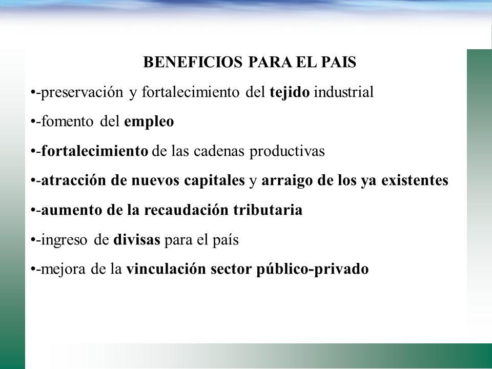 BENEFICIOS PARA EL SECTOR AGROPECUARIO -generación de valor en el sector e incremento en su participación en el PIB -multiplicación del tejido industr