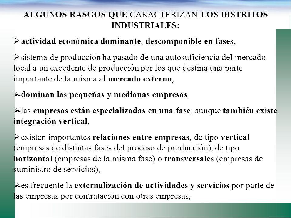 CARACTERIZAR ELEMENTOS QUE PUEDEN SER UTILIZADOS PARA CARACTERIZAR UN DISTRITO INDUSTRIAL (Rabelloti, 1995): -agrupaciones de empresas, principalmente