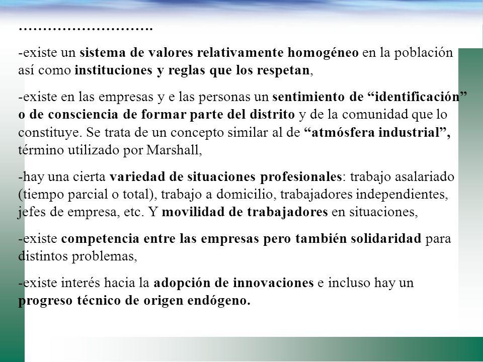 ALGUNOS RASGOS QUE CARACTERIZAN LOS DISTRITOS INDUSTRIALES: -actividad económica dominante, descomponible en fases, -sistema de producción ha pasado d