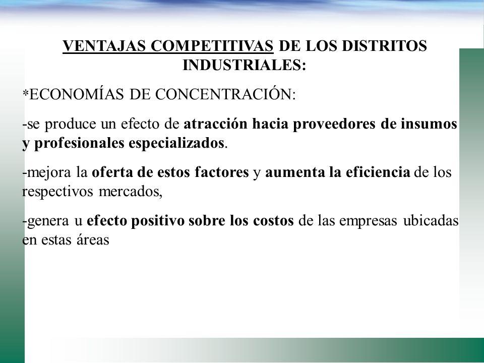 VENTAJAS DE LOS DISTRITOS INDUSTRIALES: -logro de mayores niveles de eficiencia y destreza en la producción a través de la especialización, -rápido y