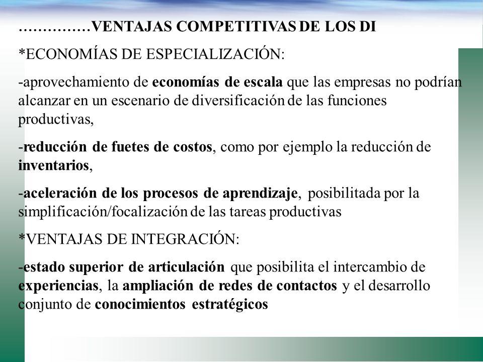 VENTAJAS COMPETITIVAS DE LOS DISTRITOS INDUSTRIALES: * ECONOMÍAS DE CONCENTRACIÓN: -se produce un efecto de atracción hacia proveedores de insumos y p