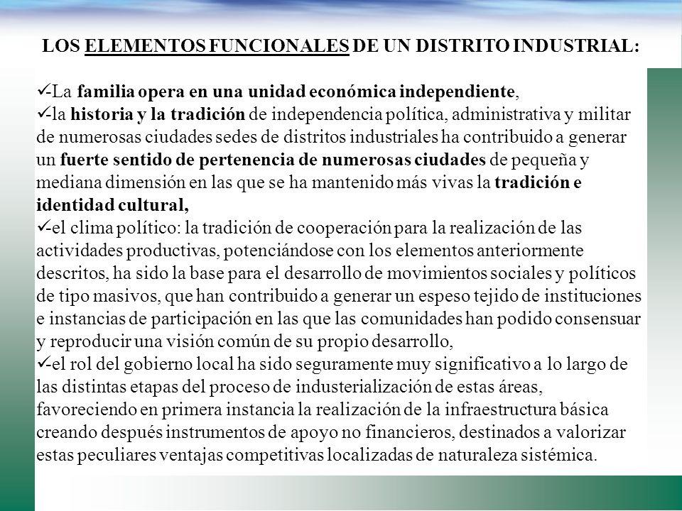 Los distritos industriales en Italia, España, Alemania, etc. han surgido bajo una peculiar y compleja combinación de elementos históricos, sociales, p