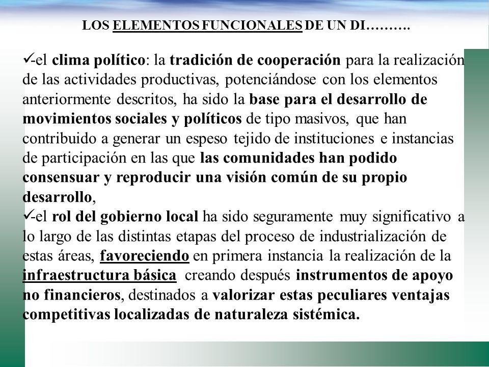 LOS ELEMENTOS FUNCIONALES DE UN DISTRITO INDUSTRIAL: -La familia opera en una unidad económica independiente, -la historia y la tradición de independe