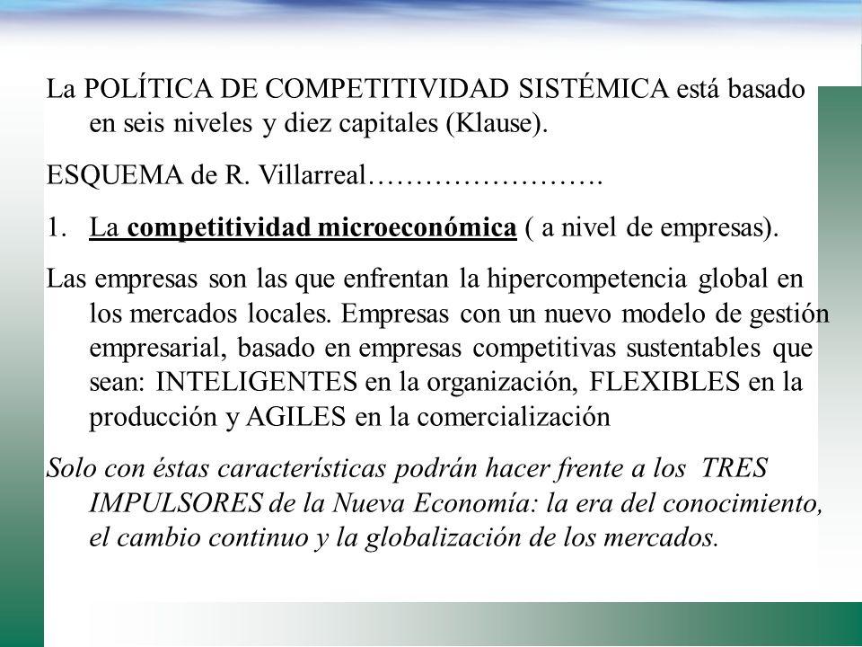 La tercera etapa de desarrollo económico implica pasar a una Política de COMPETITIVIDAD SISTÉMICA, que permita entrar en la era del conocimiento o rev