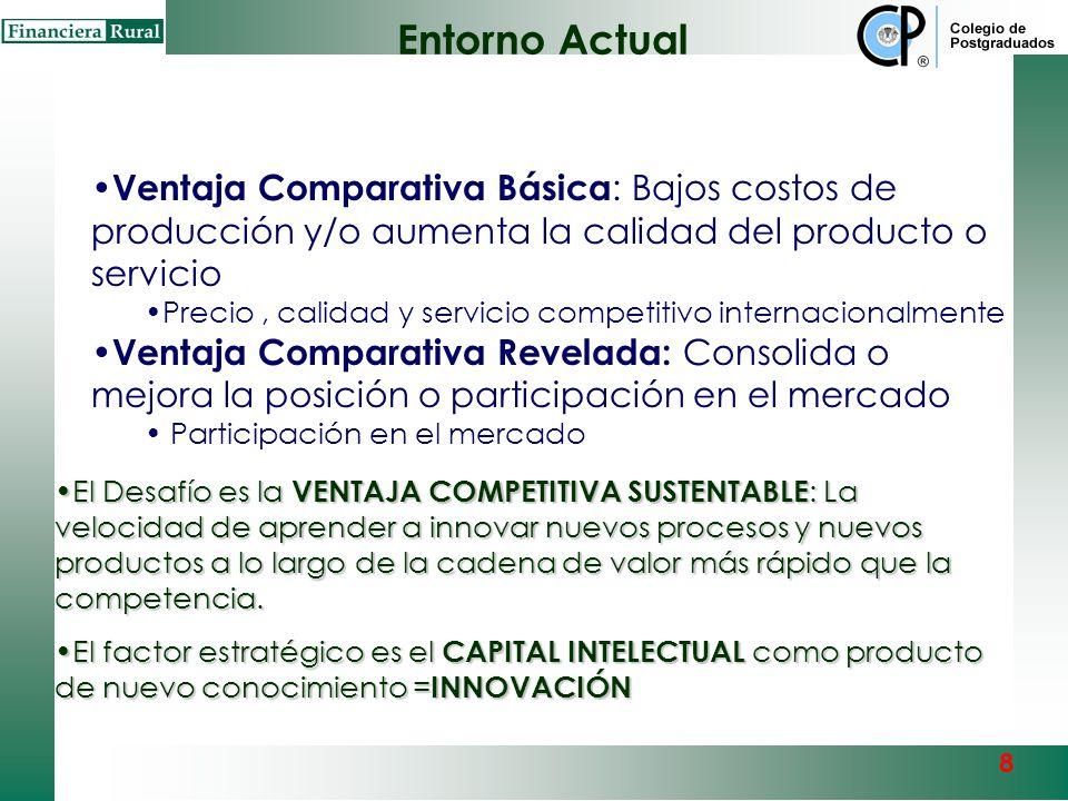 Entorno Actual Enfoque espacial –Empresa-Clauster-Región-Gobierno-País Transformar ventajas comparativas en ventajas competitivas sustentables Hiperco