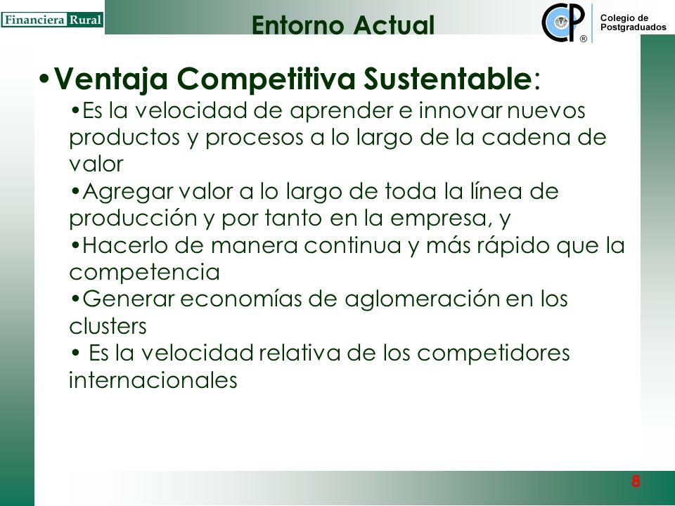 8 Ventaja Comparativa Básica : Bajos costos de producción y/o aumenta la calidad del producto o servicio Precio, calidad y servicio competitivo intern