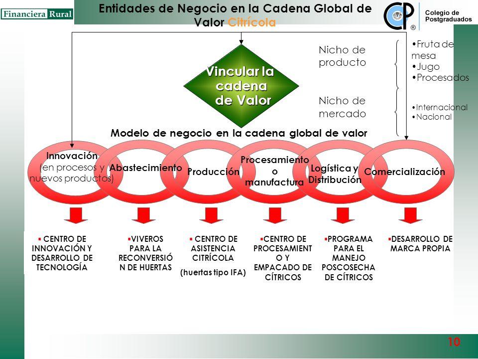 Innovación (en procesos y nuevos productos) Abastecimiento Comercialización Procesamiento o manufactura Producción Modelo de Negocio en la Cadena Glob