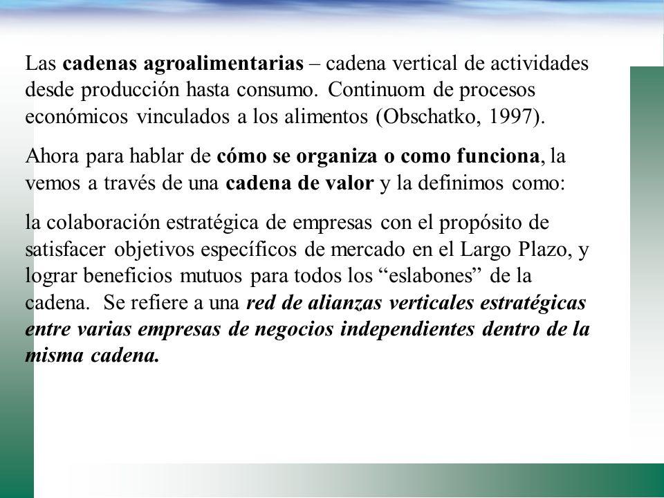 El concepto de CADENAS DE VALOR es relativamente nuevo en el sector aa mundial. Quizas los ejemplos más ilustrativos provienen de Holanda, con la Fund