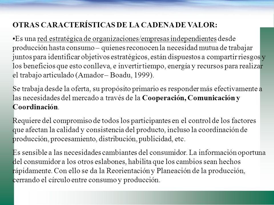 Comparando las RELACIONES DE NEGOCIO tradicional contra las de una cadena de valor (Bouma, 2000) TRADICIONALCADENA DE VALOR Información compartidaesca