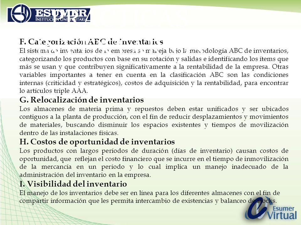 F. Categorización ABC de inventarios El sistema de inventarios de la empresa se maneja bajo la metodología ABC de inventarios, categorizando los produ