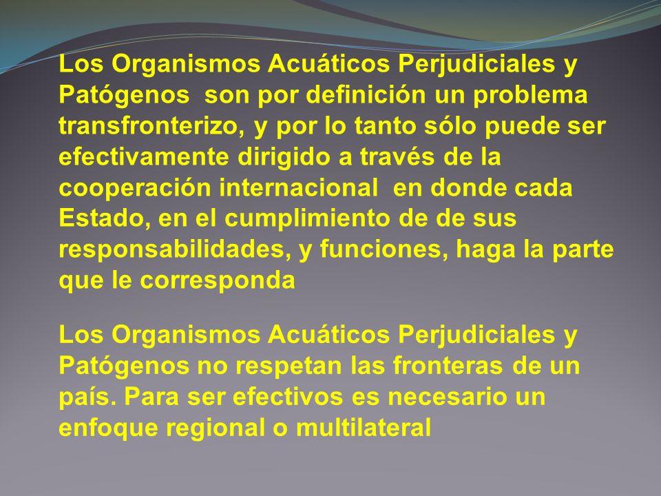 Los Organismos Acuáticos Perjudiciales y Patógenos son por definición un problema transfronterizo, y por lo tanto sólo puede ser efectivamente dirigid