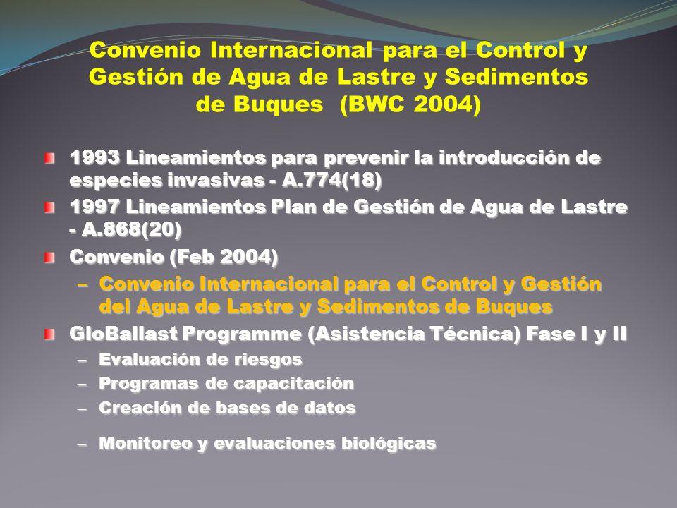 Convenio Internacional para el Control y Gestión de Agua de Lastre y Sedimentos de Buques (BWC 2004) 1993 Lineamientos para prevenir la introducción d