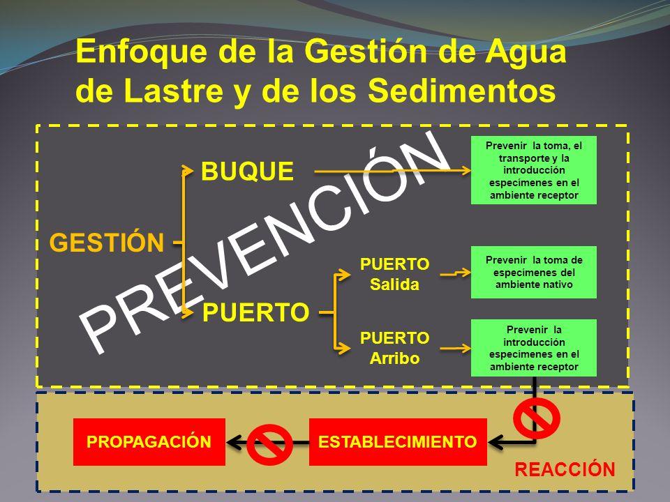 PREVENCIÓN Enfoque de la Gestión de Agua de Lastre y de los Sedimentos GESTIÓN PUERTO Salida PUERTO Arribo BUQUE PUERTO Prevenir la toma, el transport
