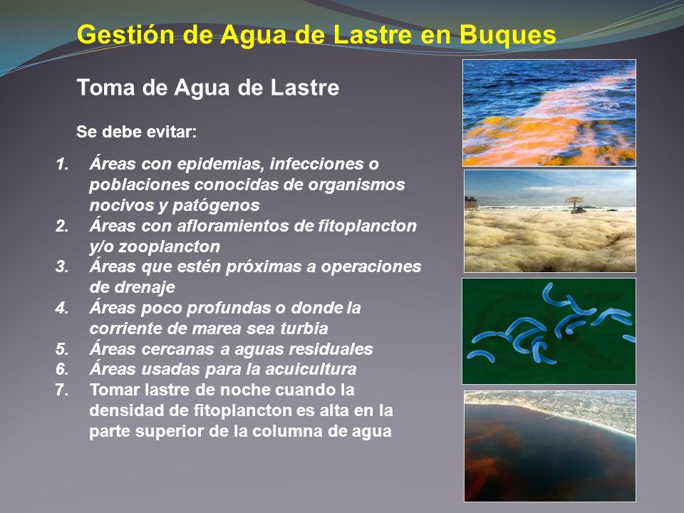 Gestión de Agua de Lastre en Buques 1.Áreas con epidemias, infecciones o poblaciones conocidas de organismos nocivos y patógenos 2.Áreas con afloramie