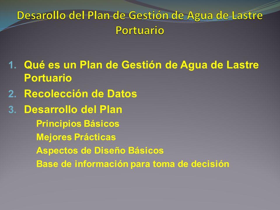 1. Qué es un Plan de Gestión de Agua de Lastre Portuario 2. Recolección de Datos 3. Desarrollo del Plan Principios Básicos Mejores Prácticas Aspectos