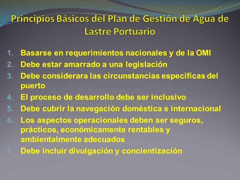 1. Basarse en requerimientos nacionales y de la OMI 2. Debe estar amarrado a una legislación 3. Debe considerara las circunstancias específicas del pu