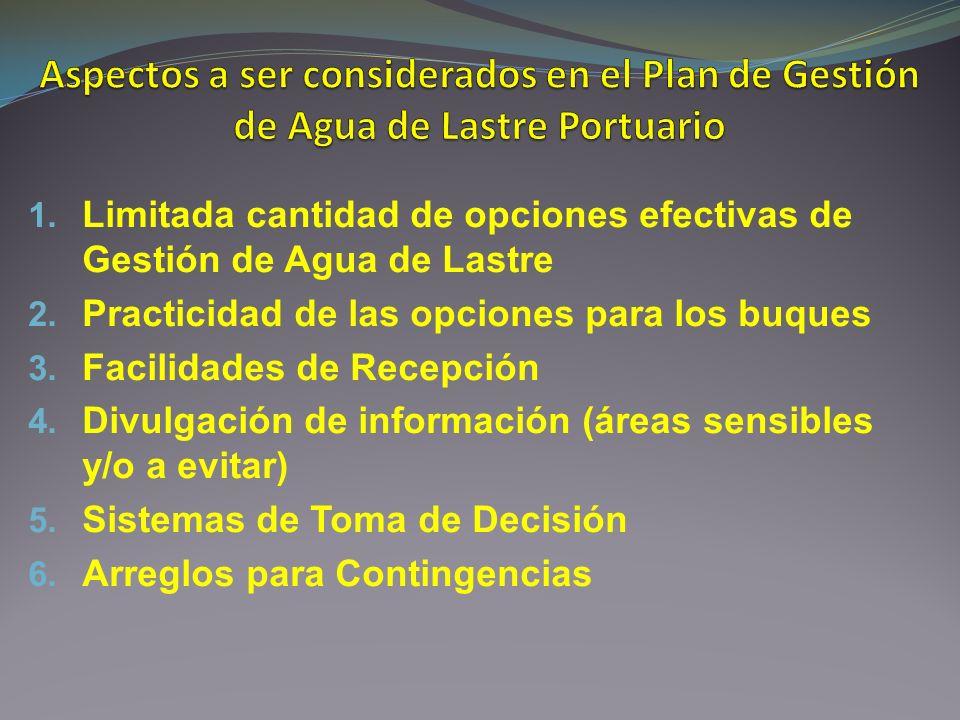 1. Limitada cantidad de opciones efectivas de Gestión de Agua de Lastre 2. Practicidad de las opciones para los buques 3. Facilidades de Recepción 4.