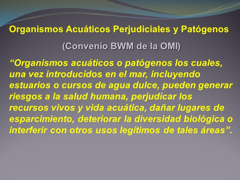 Organismos Acuáticos Perjudiciales y Patógenos (Convenio BWM de la OMI) Organismos acuáticos o patógenos los cuales, una vez introducidos en el mar, i