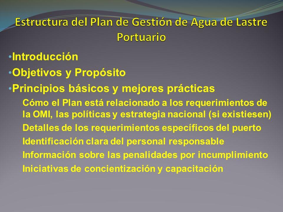 Introducción Objetivos y Propósito Principios básicos y mejores prácticas Cómo el Plan está relacionado a los requerimientos de la OMI, las políticas