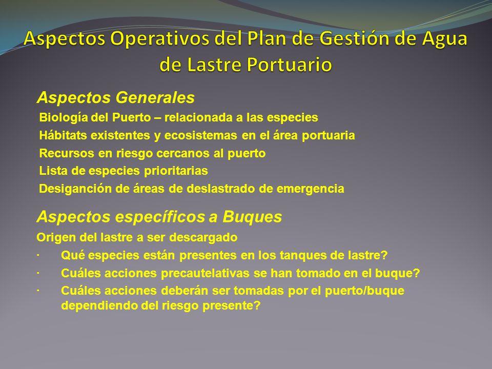 Aspectos Generales Biología del Puerto – relacionada a las especies Hábitats existentes y ecosistemas en el área portuaria Recursos en riesgo cercanos