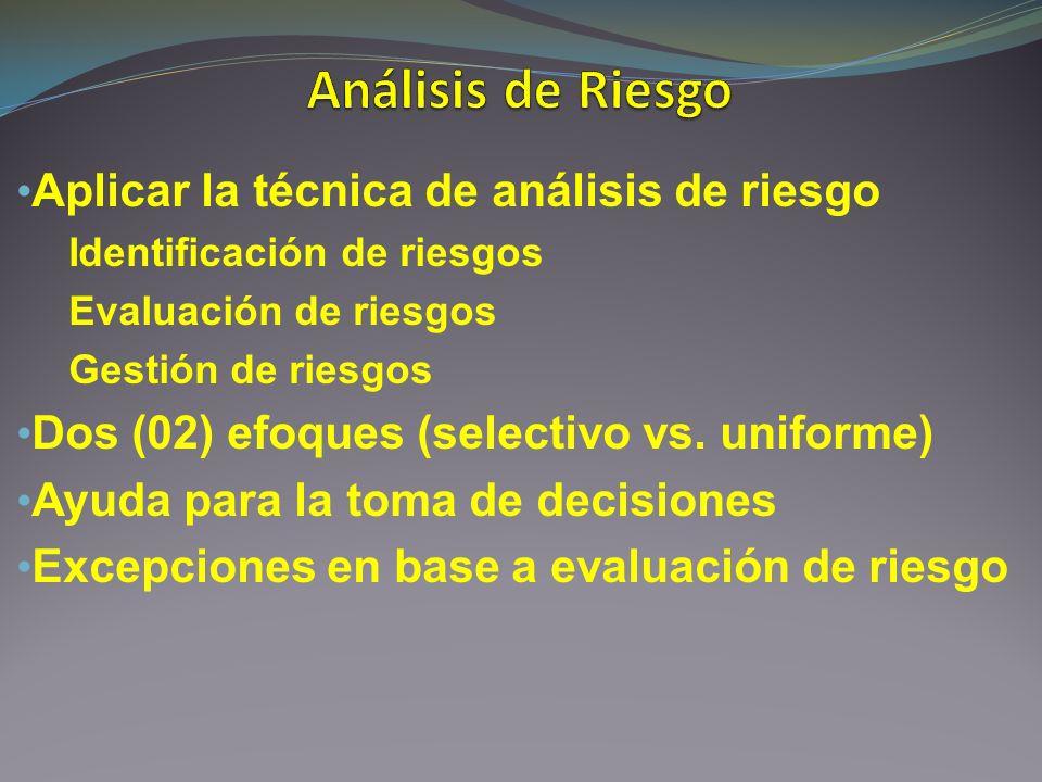 Aplicar la técnica de análisis de riesgo Identificación de riesgos Evaluación de riesgos Gestión de riesgos Dos (02) efoques (selectivo vs. uniforme)