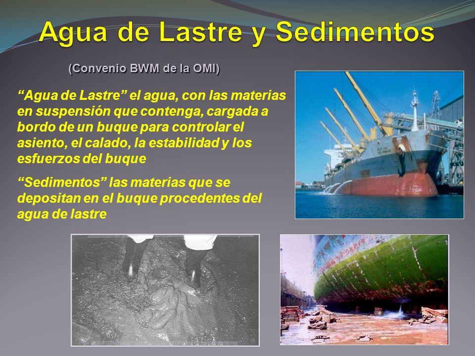 Agua de Lastre el agua, con las materias en suspensión que contenga, cargada a bordo de un buque para controlar el asiento, el calado, la estabilidad