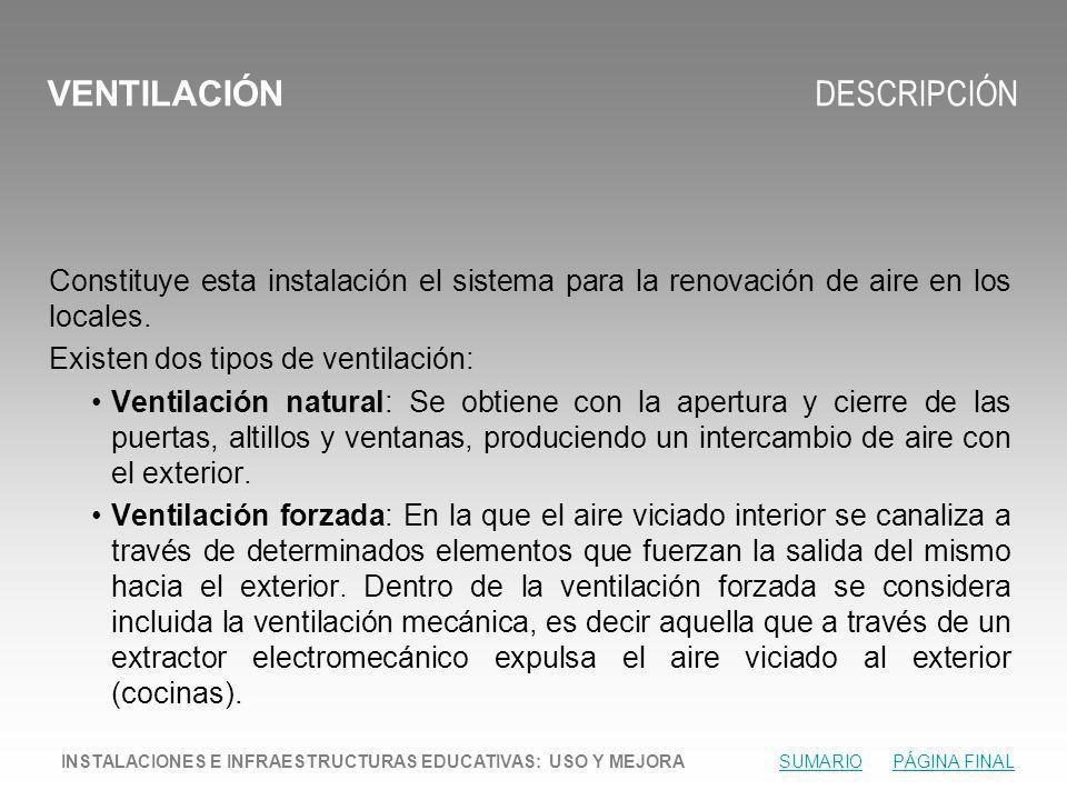 VENTILACIÓN DESCRIPCIÓN Constituye esta instalación el sistema para la renovación de aire en los locales.