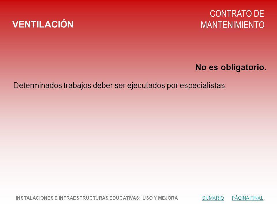 VENTILACIÓN CONTRATO DE MANTENIMIENTO No es obligatorio.
