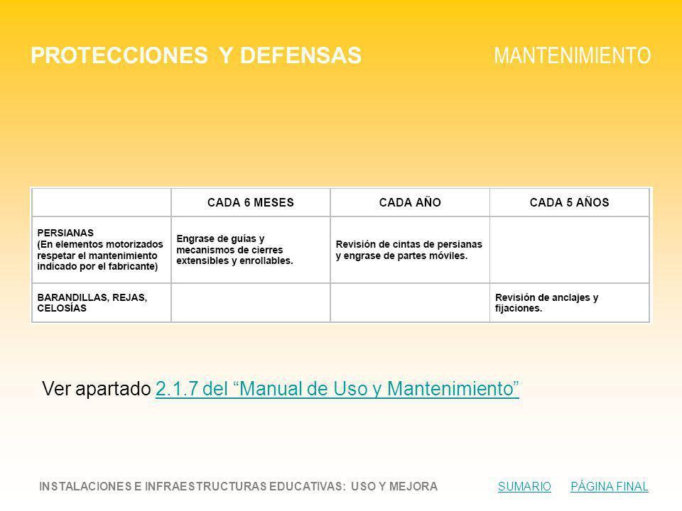 PROTECCIONES Y DEFENSAS MANTENIMIENTO INSTALACIONES E INFRAESTRUCTURAS EDUCATIVAS: USO Y MEJORA SUMARIO PÁGINA FINALSUMARIOPÁGINA FINAL Ver apartado 2.1.7 del Manual de Uso y Mantenimiento2.1.7 del Manual de Uso y Mantenimiento