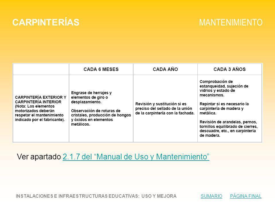 CARPINTERÍAS MANTENIMIENTO INSTALACIONES E INFRAESTRUCTURAS EDUCATIVAS: USO Y MEJORA SUMARIO PÁGINA FINALSUMARIOPÁGINA FINAL Ver apartado 2.1.7 del Manual de Uso y Mantenimiento2.1.7 del Manual de Uso y Mantenimiento