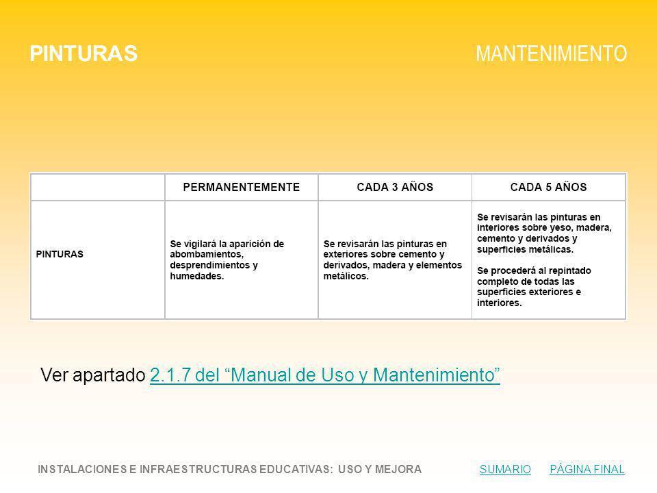 PINTURAS MANTENIMIENTO INSTALACIONES E INFRAESTRUCTURAS EDUCATIVAS: USO Y MEJORA SUMARIO PÁGINA FINALSUMARIOPÁGINA FINAL Ver apartado 2.1.7 del Manual de Uso y Mantenimiento2.1.7 del Manual de Uso y Mantenimiento
