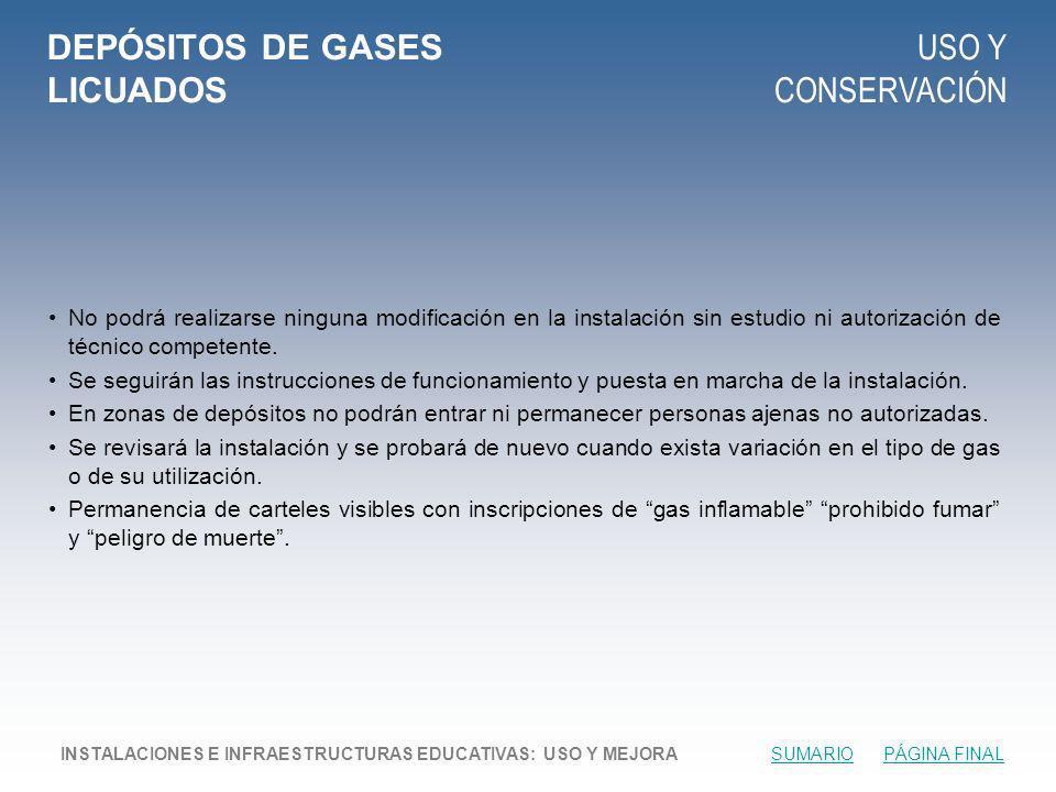 DEPÓSITOS DE GASES LICUADOS USO Y CONSERVACIÓN No podrá realizarse ninguna modificación en la instalación sin estudio ni autorización de técnico competente.
