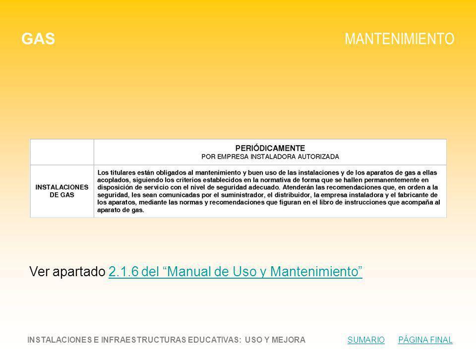 GAS MANTENIMIENTO INSTALACIONES E INFRAESTRUCTURAS EDUCATIVAS: USO Y MEJORA SUMARIO PÁGINA FINALSUMARIOPÁGINA FINAL Ver apartado 2.1.6 del Manual de Uso y Mantenimiento2.1.6 del Manual de Uso y Mantenimiento