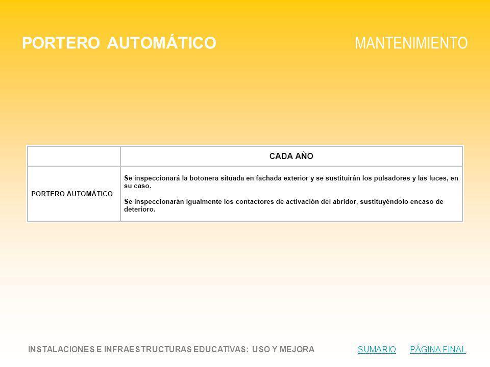 PORTERO AUTOMÁTICO MANTENIMIENTO INSTALACIONES E INFRAESTRUCTURAS EDUCATIVAS: USO Y MEJORA SUMARIO PÁGINA FINALSUMARIOPÁGINA FINAL