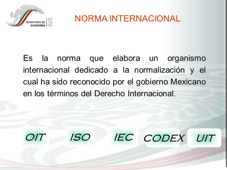 Es la norma que elabora un organismo internacional dedicado a la normalización y el cual ha sido reconocido por el gobierno Mexicano en los términos d