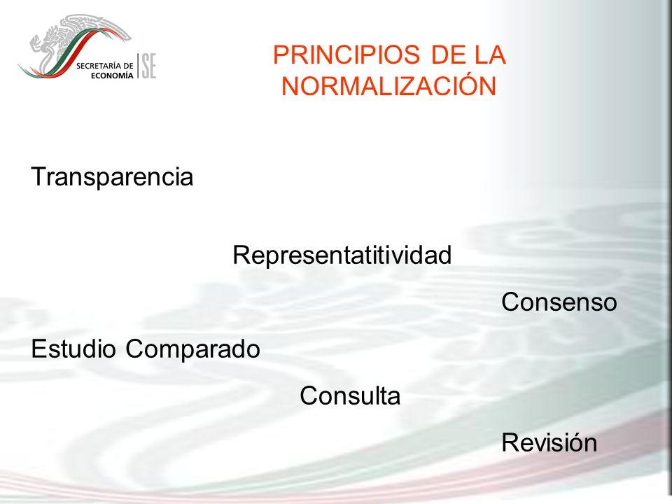 PRINCIPIOS DE LA NORMALIZACIÓN Transparencia Representatitividad Consenso Estudio Comparado Consulta Revisión